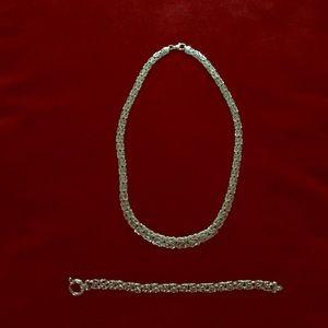 Byzantine Link Necklace & Bracelet Set